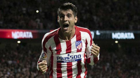 Álvaro Morata celebra su gol contra el Getafe.