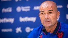 Paco López, técnico del Levante, en rueda de prensa (Levante Unión Deportiva)