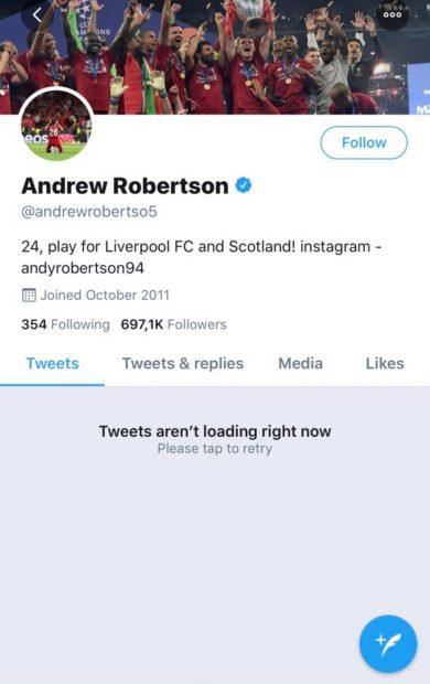 Robertson cierra su Twitter tras recibir amenazas de muerte de aficionados del Liverpool