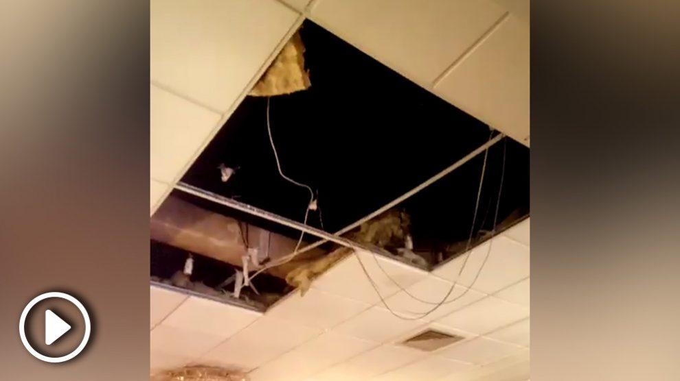Así quedó el comedor del restaurante chino de Burgos tras la caída de un joven.