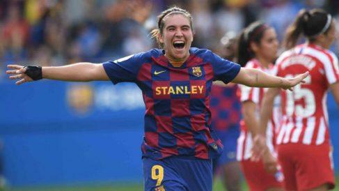 Mariona celebra su gol ante el Atlético. (fcbarcelona.cat)