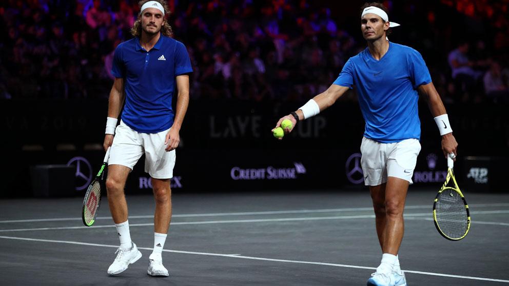 Nadal-y-Tsitsipas, durante el partido de dobles en la Laver Cup