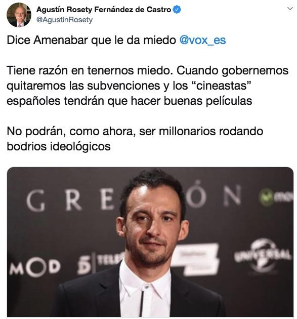 El zasca de un diputado de Vox a Amenábar: «Quitaremos las ayudas y tendrá que hacer buenas películas»