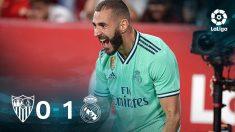 Benzema hizo el 0-1 del Real Madrid en Sevilla.