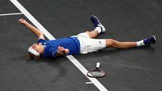 Zverev, tras ganar el punto decisivo. (Getty)