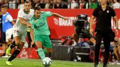 Hazard, en el partido del Real Madrid en el Pizjuán. (EFE)