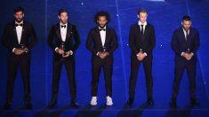 Alisson, Sergio Ramos, Marcelo, De Jong y Leo Messi, parte del equipo ideal de The Best 2019. (AFP)