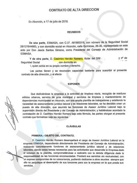 Contrato entre EMASA y el abogado del vicealcalde de Alcarcón