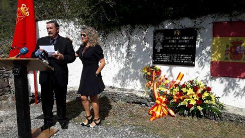 María José Rama, viuda del guardia civil Juan Carlos Beiro, en el acto celebrado por el 17 aniversario de su muerte en Leitza (Navarra). (Ep)