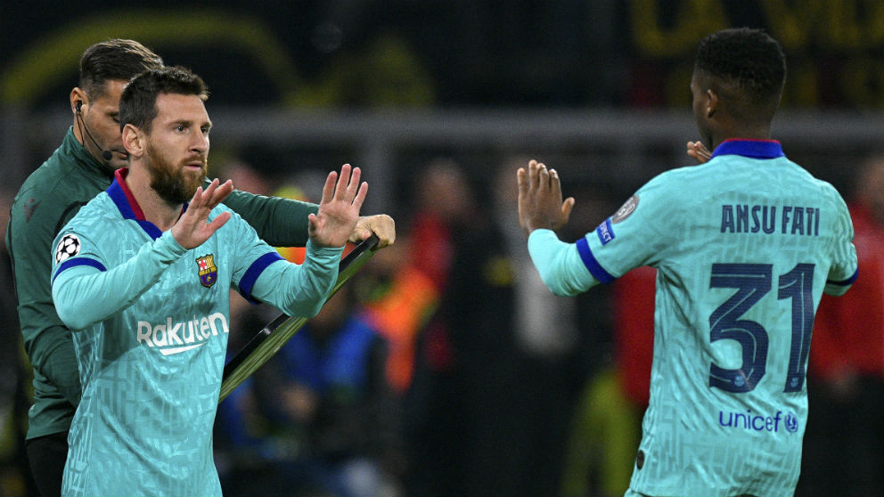 Leo Messi sustituye a Ansu Fati en el duelo de Champions ante el Borussia Dortmund. (AFP)