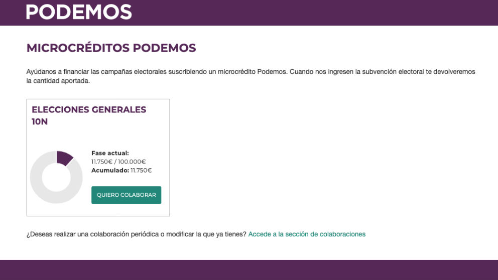 Campana microcréditos de Podemos.
