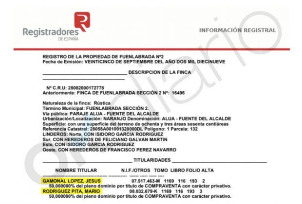 Nota simple de la finca que comparten Jesús Gamonal y Mario Rodríguez Pita