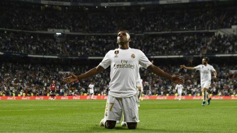 Rodrygo Goes celebra su gol en el Real Madrid – Osasuna. (AFP)