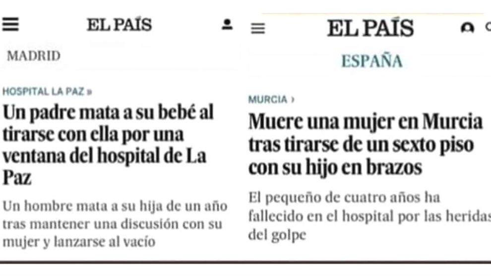 Las dos noticias de 'El País' que se contraponen dependiendo del autor del crimen.