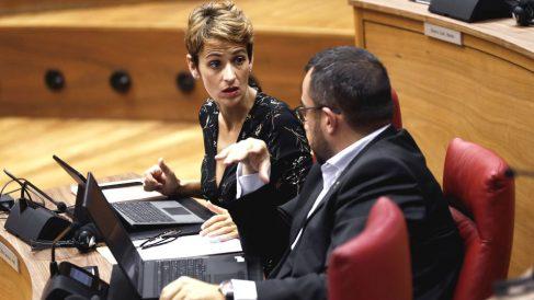 La presidenta de Navarra, María Chivite, en el Parlamento de Navarra.