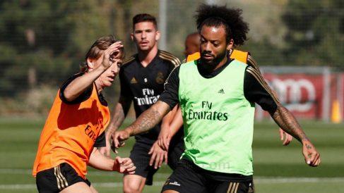 Modric y Marcelo, en un entrenamiento.