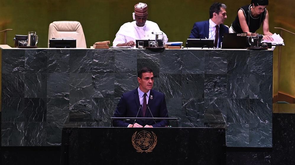 Pedro Sánchez en la ONU, Nueva York. (Foto. Moncloa)