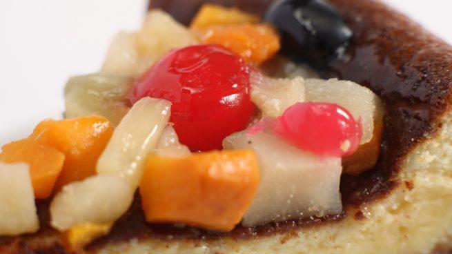 Macedonia de frutas, vainilla y leche de soja