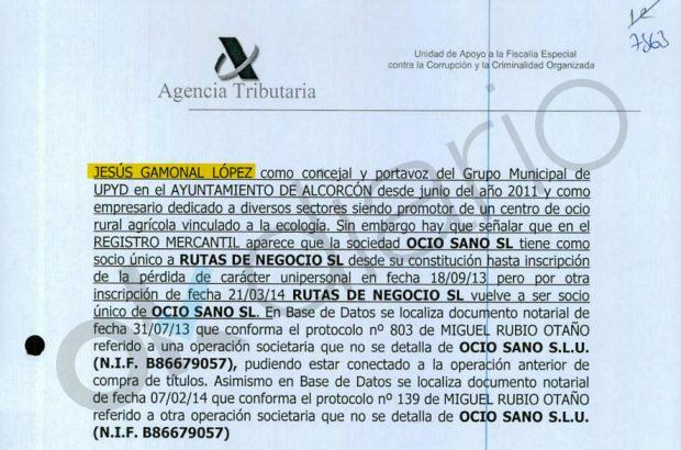 Informe de la Agencia Tributaria en el que figura el empresario Jesús Gamonal