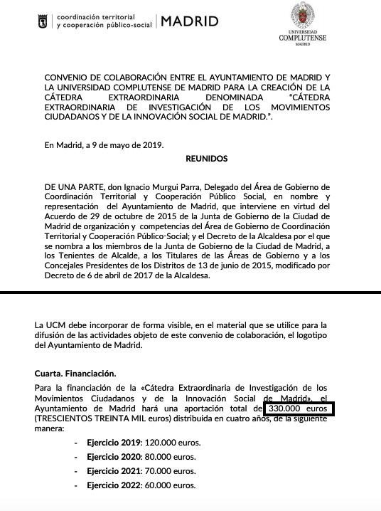 Carmena dejó atados 330.000 € a dedo para la 'Facultad de Podemos'