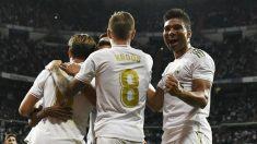 Los jugadores del Real Madrid celebran un gol ante Osasuna (AFP).
