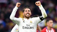 Sergio Ramos celebra la victoria del Real Madrid en el Metropolitano, el pasado curso (AFP).