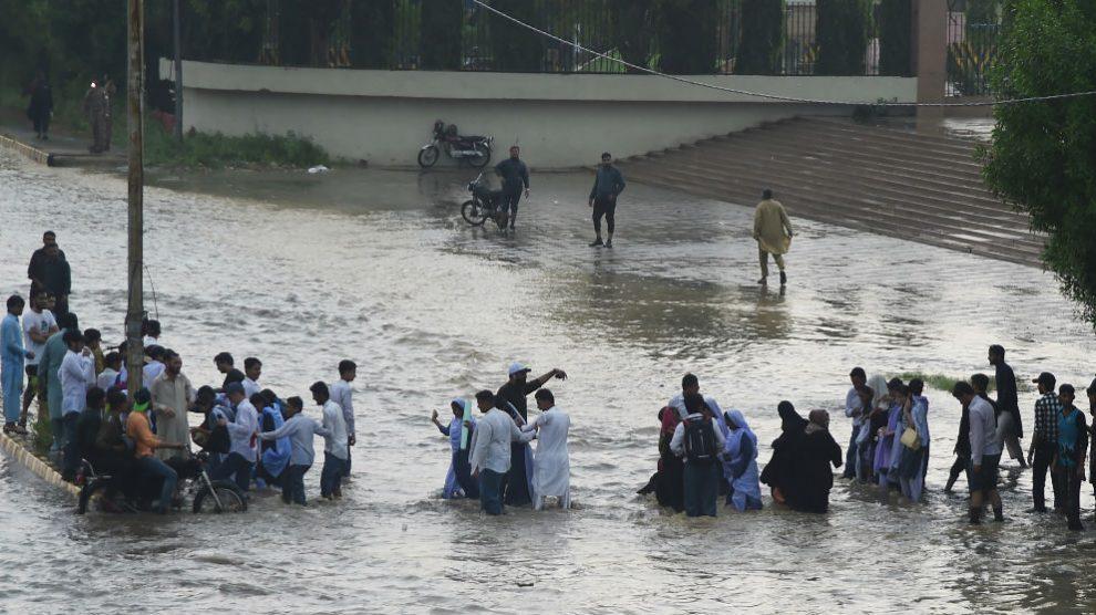 Calles inundadas a causa del monzón en India. Foto: AFP