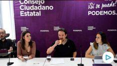 Pablo Iglesias y su partido en el Consejo Ciudadano Estatal