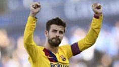 Piqué celebra la victoria del barcelona en Getafe. (AFP)