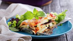 Receta de lasaña vegetal de queso de cabra con anchoas