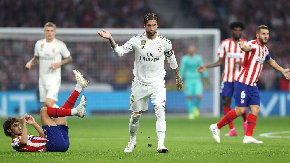 Sergio Ramos, en el partido contra el Atlético de la jornada 7. (Getty)