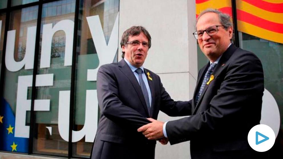 Quim Torra y Carles Puigdemont en Bélgica antes de su reunión. Foto: @Govern