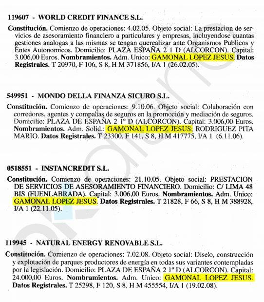Inscripción de las sociedades de Jesús Gamonal en el Registro Mercantil