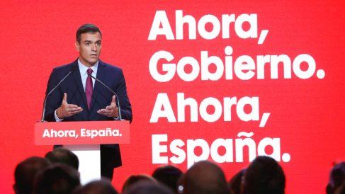 El secretario general del PSOE y presidente del Gobierno en funciones, Pedro Sánchez, durante la presentación este lunes de la campaña electoral de los socialistas para las elecciones del 10 de noviembre. (Foto: Efe)