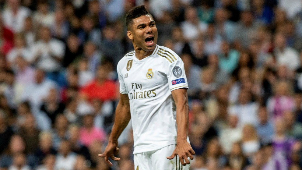 Casemiro, durante el Real Madrid – Brujas. (EFE)