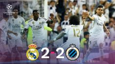 El Real Madrid empató a dos con el Brujas en la Champions.