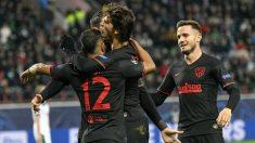 Los jugadores del Atlético de Madrid celebran el gol de Joao Félix. (AFP)