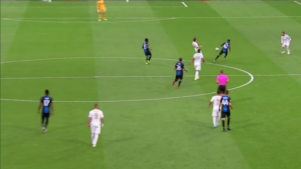 Luka Modric falló en el segundo tanto del Brujas ante el Real Madrid.