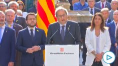 Quim Torra y Pere Aragonès durante el acto institucional en recuerdo del referéndum ilegal del 1 de octubre de 2017.