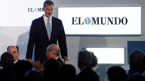 El rey Felipe interviene en la celebración del 30 aniversario del diario El Mundo, en un acto celebrado este martes en el Hotel Palace de Madrid. Foto: EFE