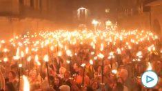 Marcha con antorchas en Gerona con motivo del segundo aniversario del 1-O.