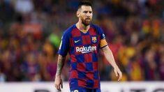 Messi, durante un partido con el Barcelona. (Getty)
