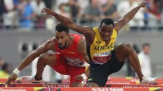 Orlando Ortega durante la final de 100 metros vallas. (AFP)