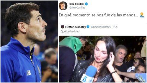 Iker Casillas, junto al mensaje publicado en su Twitter.