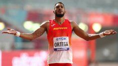 Orlando Ortega durante la final de 110 metros valla en los Mundiales de Doha. (Getty)