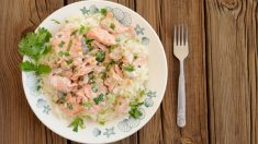 Risotto de patata con salmón