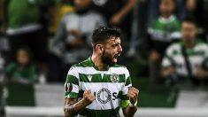 Bruno Fernandes celebra un gol con el Sporting de Portugal. (AFP)
