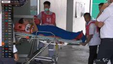 Marc Márquez, trasladado al hospital tras sufrir una caída en Tailandia. (@dazn)
