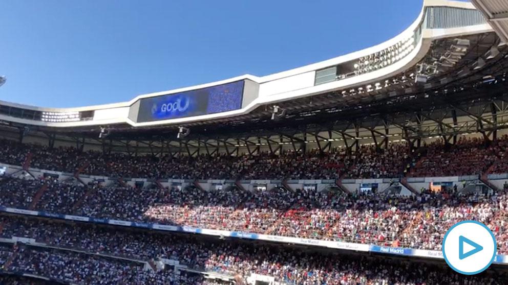 Así celebró el Bernabéu el gol de Hazard.