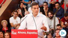 El presidente del Gobierno en funciones, Pedro Sánchez, en un mitin del PSOE en Vigo a 5 de octubre de 2019